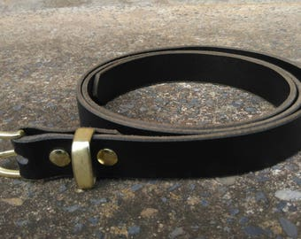 Leather Belt 25mm Black or Brown