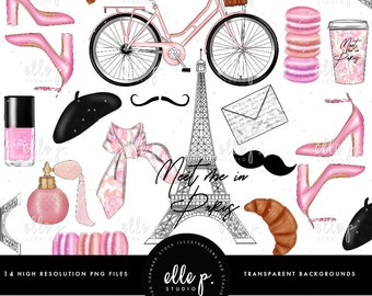 Meet Me in Paris! Clipart Bundle / Parisian Themed Clipart / Paris Clipart / Pink Clipart / Eiffel Tower Clipart / Planner Clipart