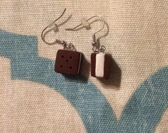 Clay ice cream sandwich earrings