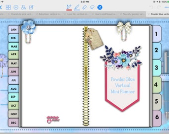 Powder Blue Tabbed Vertical Mini Planner