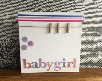 """Personalised decorative peg board - 12"""" x 12"""" - baby girl - lilac"""