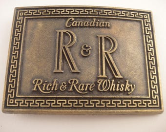 Belt Buckle Vintage Rich & Rare Whisky Canadian Whisky Memorabilia Rich and Rare Belt Buckle Canadian Whiskey R and R Belt Buckle Whiskeyana