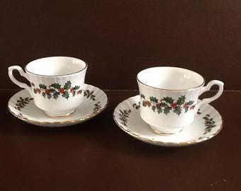 A Pair of Royal Stafford, Holly, Bone China Teacups