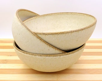 Ceramic  bowl, three cream bowls, handmade bowl, ceramic Wheel Thrown cream Bowl, medium Ceramic  bowl, cereal bowl