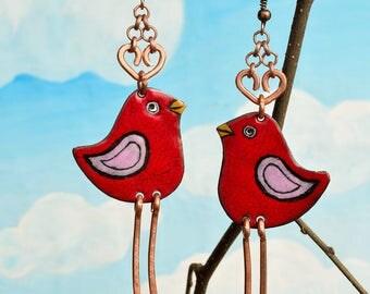 Enamel Earrings, Enamel Jewelry, Claret Bird Earrings, Bird Earrings, Enameled Earrings, Bird Jewelry, Birdie, Little Bird Earrings,