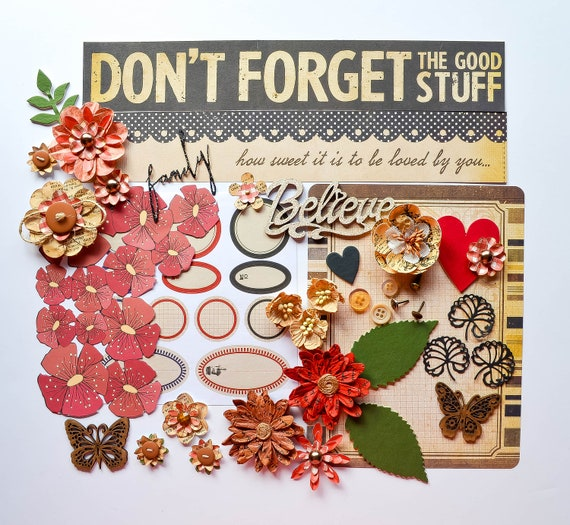 Vintage Red & Black Scrapbook Kit: Handmade Flowers With 12x12 Paper, Prima Die Cuts, Stickers, Chipboard Title/Butterflies/Hearts/Leaves