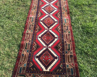"Persian Runner Hand-Knotted Zageh (Red, Blue, Taupe) 312cm x 80cm (10'2"" x 2'6"")"