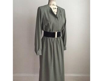 Vintage Dress, 80s Dress, Vintage Career Dress, Houndstooth Pattern Dress, Modest Vintage Dress, Vintage Dress with Pockets