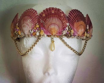 Mermaid - Seashell crown - Beach wedding Crown - Mermaid Crown - Seashell headband - Mermaid headpiece -  Halloween mermaid - Photo Prop