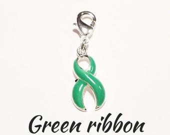 Green Ribbon pendant-mitochondrial disease awareness