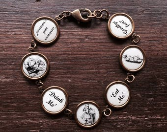 Vintage Style Antique Brass Alice in Wonderland Disc Charm Bracelet