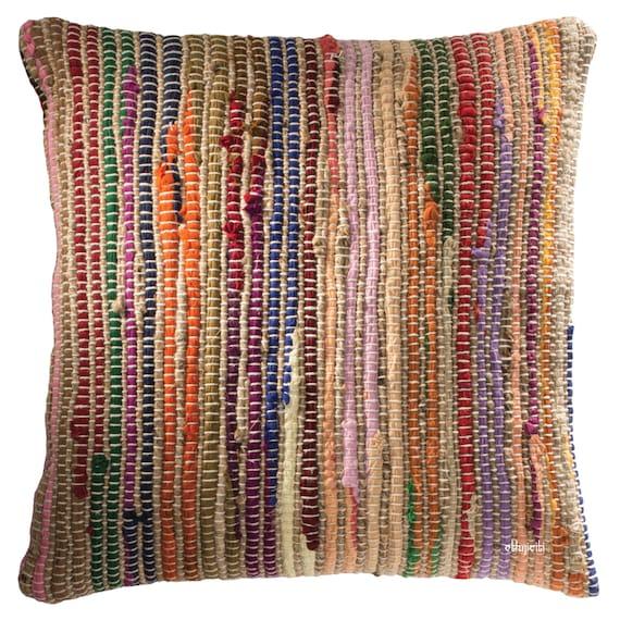 Cushion Cover 45x45cm 18 Rag Rug Cotton & Jute