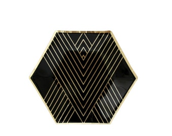Black and Gold Plates - Small