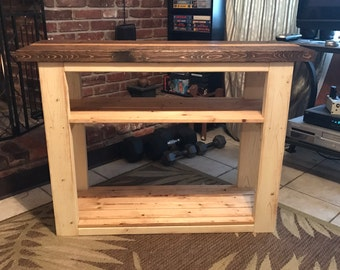 Rustic Cream Distressed TV Wood Console Table