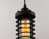 INCLUDES BULB  Vintage Industrial hanging ceiling light antique retro french style cage lantern. rustic unique. Pendant Chandelier
