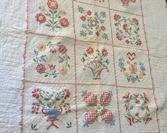 White and red quilt, hand, vintage, embroidery, home decor, collectible