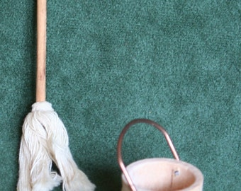 "Miniature Wooden , Bucket and Mop 1""-1' Scale"