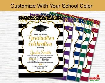 Graduation Party Invitation. Graduation Invitation in Your School Color. Class Of 2017. High School College Grad. Printable Invitation G8