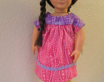 Pink and Purple Dress in Bubble Print Batik Fabrics for American Girl and 18 inch Dolls