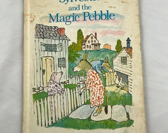Sylvester and the Magic Pebble Vintage Childrens Book by William Steig Copyright 1969 Scrapbook Supplies Donkey Lion Nursery Pictures Gift