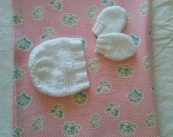 Newborn Baby Girls Cotton Flannelette Wrap/Receiving Blanket & Hat/Mitten Set