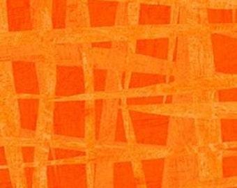BTHY - Always Blooming by Susy Pilgrim Waters for P&B Textiles, Pattern #ABLO 965-O, Tonal Messy Orange Grids, Crosshatch designs, HALF Yard