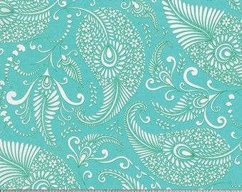 BTHY - Merry Mistletoe by Dena Designs for Free Spirit, Pattern #PWDF233.0AQUA Paisley on Aqua, by the HALF Yard