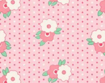 BTHY - 1930's Classics by Exclusively Quilters, #60747-1,  Dark Pink and White Flowers on Pink with White & Dark Pink Pin Dots, by HALF YARD