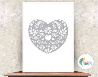 Grey Scandi Style Heart Print  (grey) -  Heart Print
