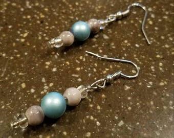 Blue faux Pearl Earrings