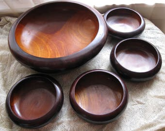 Vintage 1970s Danish Style 5 Pc. WOODEN SALAD BOWL Set Solid Wood Beautiful / Set of 5 Solid Wood Bowls