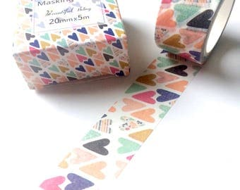 Wide Multicolour Hearts Washi Tape