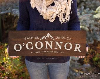 Custom Wood Sign, Last Name Sign, Rustic Home Decor, Wooden Family Name Sign, Wedding Gift, Engagement Gift, Christmas Gift (GP1051)
