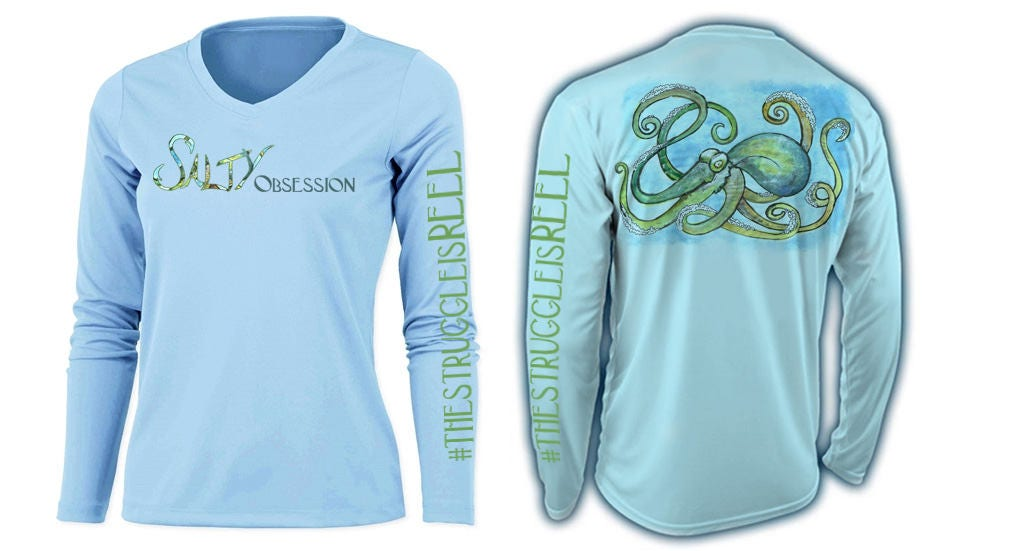 Salty obsession long sleeve ice blue octopus logo womens for Spf shirts for fishing