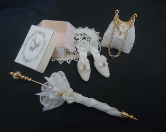 Bridal shoes, parasol & purse 1/12th scale