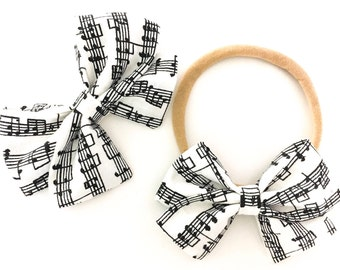 Signature Bow in Music Note - Girls Fabric Bow - Baby Girl Headband - Toddler Bow - Choose Nylon Head