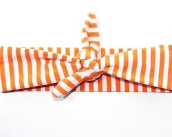Orange and White Stripe Top Knot Headband