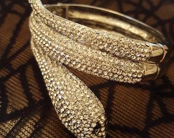 WAYNE CLARK Silvertone Pave Crystal Cleopatra Snake Bracelet