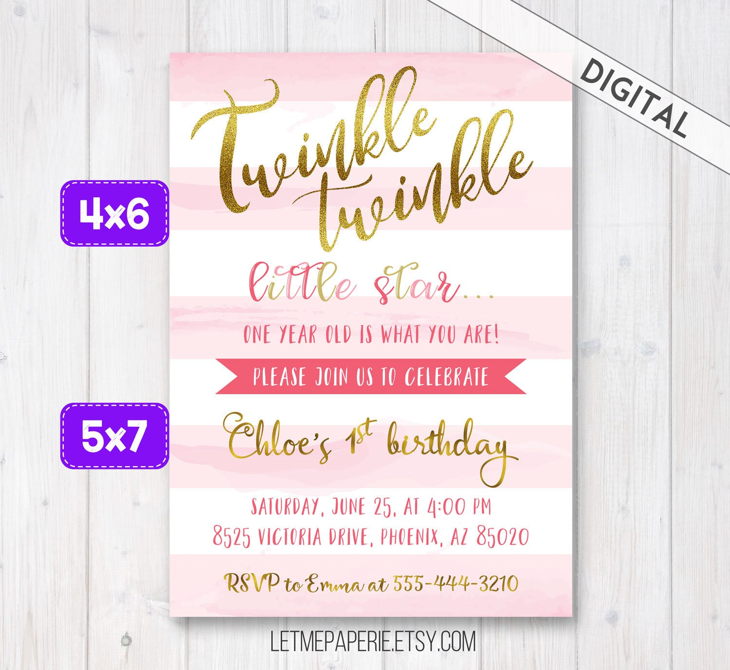 Twinkle Twinkle Little Star Birthday Invitation, Pink and Gold First ...