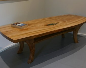 Natural Edge Elm Slab Coffee Table with Resin Inlay