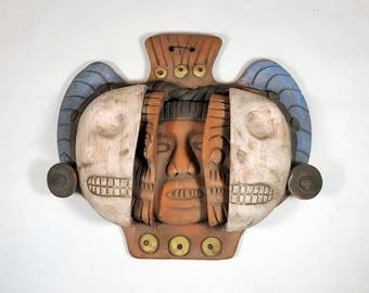 Vintage AZTEC MASK 3D Tera Cotta Wall Hanging Ethnic Boho Mayan Mask Wall Decor Latin Collectible Mexican Art Souvenir