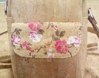 Handmade purse with flowers for women,portuguese natural cork.