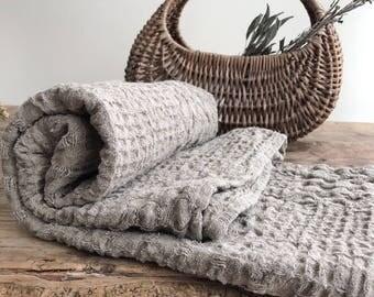 Rustic linen bath towel, massage towel, beach sheet, bath sheet, sauna towel, woven waffle towel, 100% linen, natural towel, pure linen