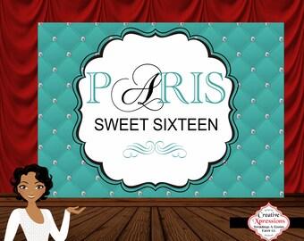Sweet Sixteen Backdrop, (PRINT N SHIP FILE) Candy Table Backdrop, Photo Backdrop, Banner, Digital or Printed, Paris