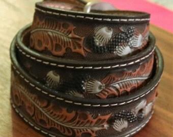Vintage New Leather Belt With Acorn and Leaf Design Size 36