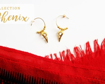 Gold plated Phoenix earrings (vermeil) 24 k