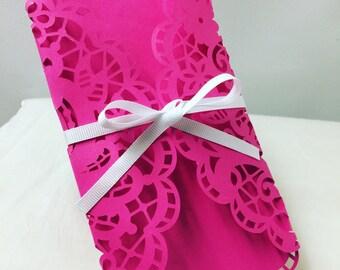 Pink laser cut wedding invitation . Ribbon wedding invitation. Pink and white invitation. Quinceñera invitation