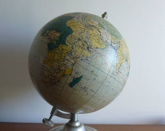 "Large globe, world map ""Cards Taride"", 1950s vintage"