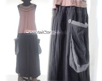 Side Pocket Fluffy Ballon Skirt Cotton100% Black Purple Boho Hippie Peasant Asian