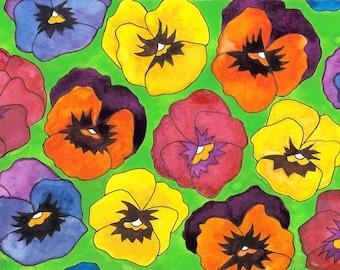 Pansies, Colorful Pansies, Spring Flowers, MargoVangoghCreates, Watercolor Of Pansies,Peeking Pansies, Pansy Patch